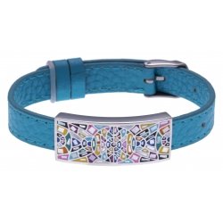 Bracelet acier - émail - nacre - cuir bleu - largeur 1cm - bracelet montre réglable
