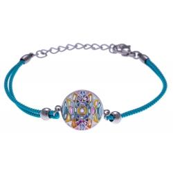 Bracelet acier - nacre - émail - coton bleu - 16+4cm