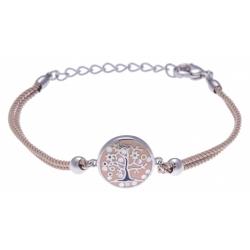Bracelet acier - arbre de vie - nacre - émail - coton marron - 16+4cm