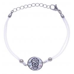 Bracelet acier - tête de mort - nacre - émail - coton blanc - 16+4cm