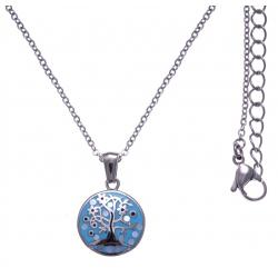 Collier en acier - arbre de vie - nacre - émail - petit volume - longueur 38+5cm