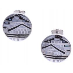 Boucles d'oreille acier - maison noir&blanc - nacre - émail