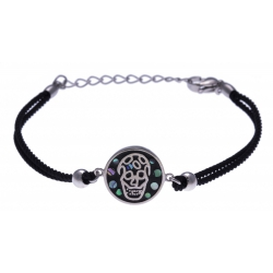 Bracelet acier - tête de mort - nacre - émail - coton noir - 16+4cm