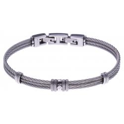Bracelet acier - 3 câbles acier - vis et composants acier - 19,5 + 1,5cm