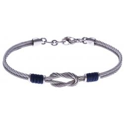 Bracelet acier - 2 câbles acier - nœud marin - cordon nautique marron - 19,5 + 2,5cm