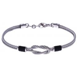 Bracelet acier - 2 câbles acier - nœud marin - cordon nautique noir - 19,5 + 2,5cm