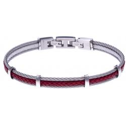 Bracelet acier - 2 cable acier - cuir tressé rouge italien - 19,5+1,5cm