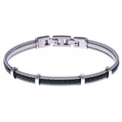 Bracelet acier - 2 cable acier - cuir tressé vert militaire italien - 19,5+1,5cm
