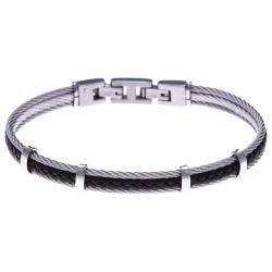 Bracelet acier - 2 cable acier - cuir tressé marron italien - 19,5+1,5cm