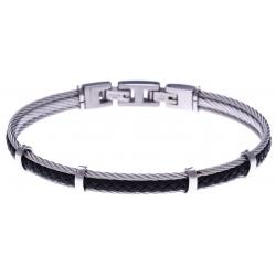 Bracelet acier - 2 cable acier - cuir tressé noir italien - 19,5+1,5cm