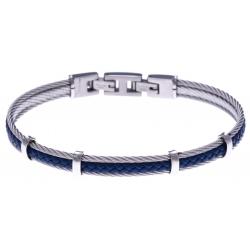 Bracelet acier - 2 cable acier - cuir tressé bleu italien - 19,5+1,5cm