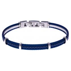 Bracelet acier - 2 cable acier bleu - cuir tressé bleu italien - 19,5+1,5cm