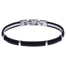 Bracelet acier - 2 cable acier noir - cuir tressé noir italien - 19,5+1,5cm
