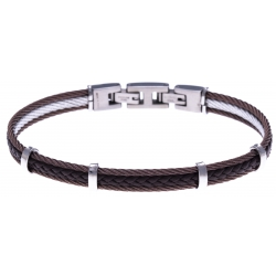 Bracelet acier - 2 cable acier marron - cuir tressé marron italien - 19,5+1,5cm