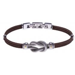 Bracelet acier - 3 câbles acier marron - nœud marin acier - vis or jaune 18KT 0,03g  - 19,5 + 1,5cm