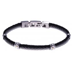 Bracelet acier - 1 cable acier - cuir tressé noir italien - vis en or jaune 18KT 0,03gr - 19,5+1,5cm
