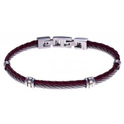 Bracelet acier - 1 cable acier - cuir tressé rouge italien - vis en or jaune 18KT 0,03gr - 19,5+1,5cm