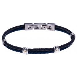 Bracelet acier - 1 cable acier bleu - cuir tressé bleu italien - vis en or jaune 18KT 0,03gr - 19,5+1,5cm