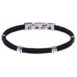 Bracelet acier - 1 cable acier noir - cuir tressé noir italien - vis en or jaune 18KT 0,03gr - 19,5+1,5cm