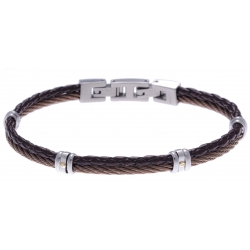 Bracelet acier - 1 cable acier marron - cuir tressé marron italien - vis en or jaune 18KT 0,03gr - 19,5+1,5cm