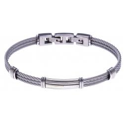Bracelet acier - 3 câbles acier - plaque acier - or jaune 18KT 0,04g  - 19,5 + 1,5cm