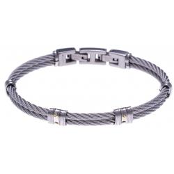Bracelet acier - 2 câbles acier - 4 vis or jaune 18KT 0,06g  - 19,5 + 1,5cm
