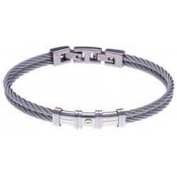 Bracelet acier - 2 câbles acier - or jaune 18KT 0,08g  - 19,5 + 1,5cm