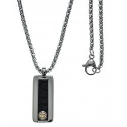 Collier acier  - 1 plaque couleur acier  24x10mm - cuir italien noir - vis en or