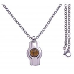 Collier acier  - couleur acier 18x14mm - cabochon oeill de tigre - chaÓne acier 50