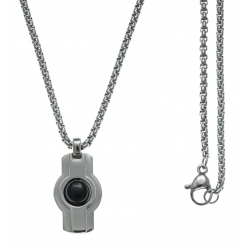Collier acier  - couleur acier 18x14mm - cabochon onyx - chaÓne acier 50cm