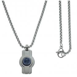 Collier acier  - couleur acier 18x14mm - cabochon lapis lazuli - chaÓne acier 50