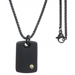 Collier acier  - 1 plaque couleur acier noir 25x15mm - vis en or jaune 18KT 0,02
