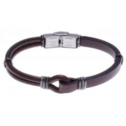 Bracelet acier - cuir marron italien  - composants acier effet veilli - 21,5cm