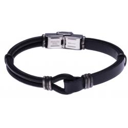 Bracelet acier - cuir noir italien  - composants acier effet veilli - 21,5cm