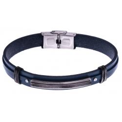 Bracelet acier - cuir bleu italien - plaque effet veilli - 21,5cm