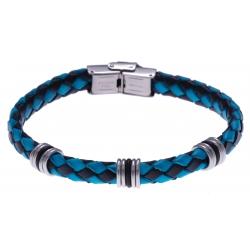 Bracelet acier - cuir tressé bleu et noir italien - composants acier - caoutchou
