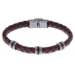 Bracelet acier - cuir tressé marron italien - composants acier - caoutchouc noir