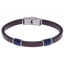 Bracelet acier - cuir marron italien - cordon bleu - 21,5cm