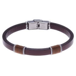 Bracelet acier - cuir marron italien - cordon marron - 21,5cm
