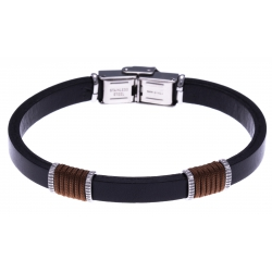 Bracelet acier - cuir noir italien - cordon marron - 21,5cm