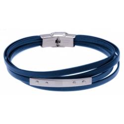 Bracelet acier - cuir bleu italien - 4 rangs - plaque - 4 vis - 21,5cm
