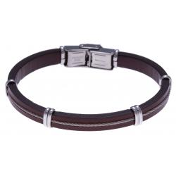 Bracelet acier - cuir marron italien - cable - composants acier - 21,5cm