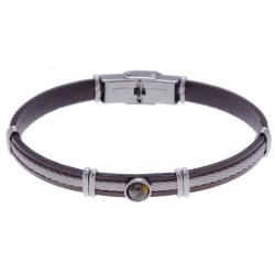 Bracelet acier - cuir marron italien - cable acier - composants acier - cabochon