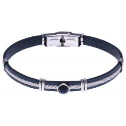 Bracelet acier - cuir bleu italien - cable acier - composants acier - cabochon l