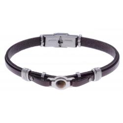 Bracelet acier - cuir marron italien - cabochon en oeill de tigre - composants aci