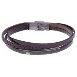 Bracelet acier 2 tons - cuir noir italien - 3 rangs -  plaque PVD noir - vis en