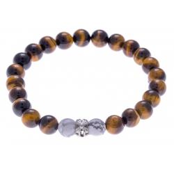 Bracelet acier pour homme - oeill de tigre - howlite blanche - 21 cm