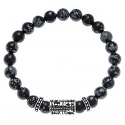 Bracelet acier pour homme - composants aciers - obsidienne neige - 21cm