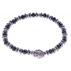 Bracelet acier pour homme - bouddha -hématite - onyx - 21 cm