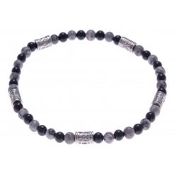 Bracelet acier pour homme - élastique - jaspe gris - onyx - 21 cm